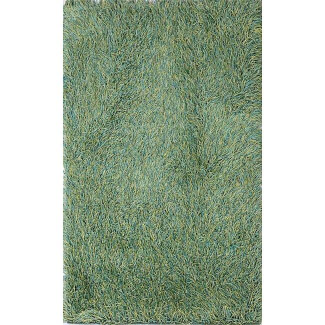 Hand-woven Polyester Green Shag Rug (5' x 8')
