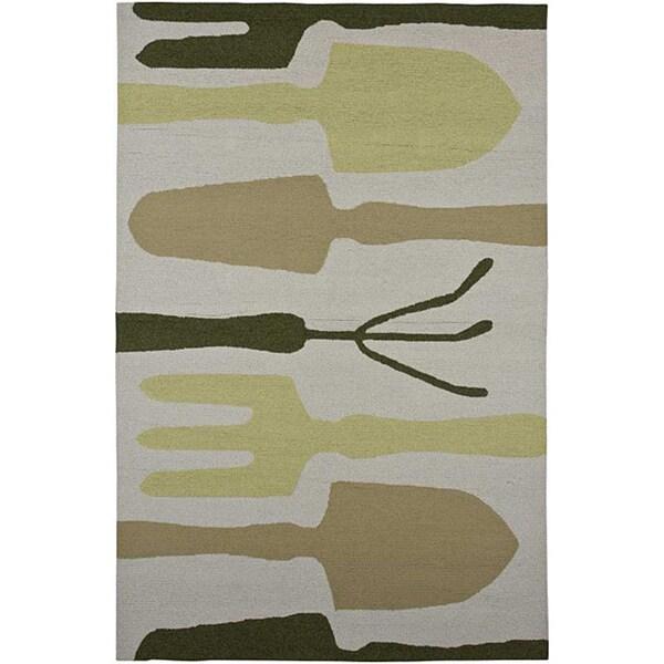 Hand-hooked Grey Indoor/ Outdoor Area Rug (7'6 x 9'6)
