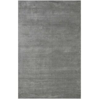 Hand-Woven Grey Wool and Art Silk Area Rug (2' x 3')