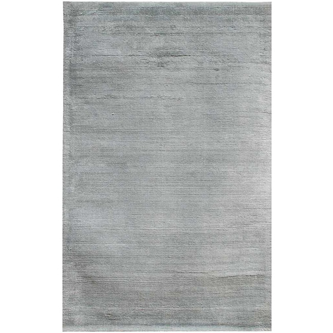 Hand-Woven Grey Wool and Art Silk Area Rug (8' X 10') - Thumbnail 0