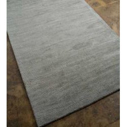 Hand-Woven Grey Wool and Art Silk Area Rug (8' X 10') - Thumbnail 1