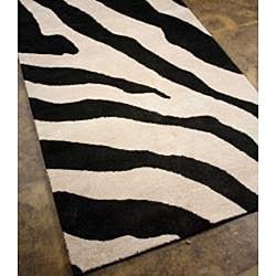 Hand-tufted Wool and Art Silk Zebra Print Rug (3'6 x 5'6) - Thumbnail 1
