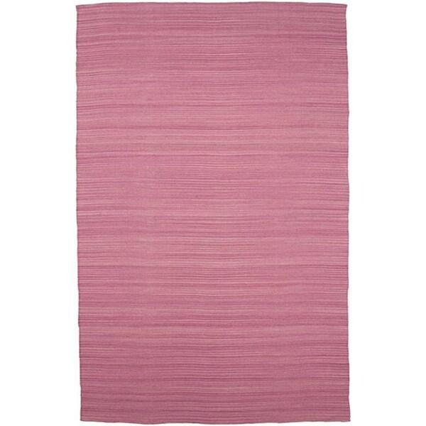 Flat Weave Pink Wool Rug (5' x 8')