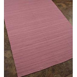 Flat Weave Pink Wool Rug (8' x 10') - Thumbnail 1
