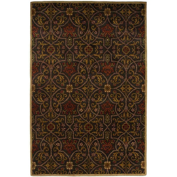 Hand-tufted Black/ Red Wool Rug (5' x 8')
