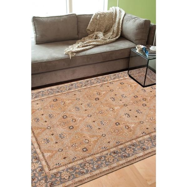 Hand-tufted Sand Brown/ Grey Wool Rug (9'6 x 13'6)