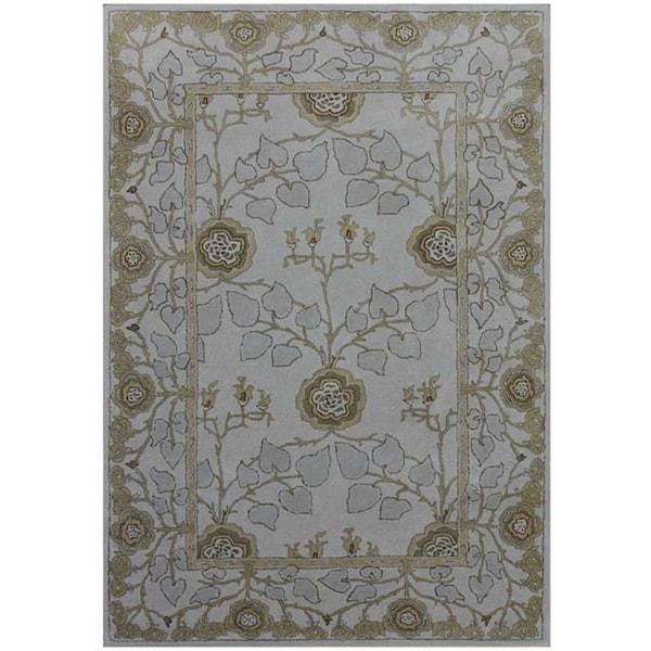 Hand-tufted Grey/ Blue Wool Rug (5' x 8')
