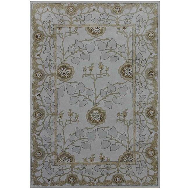 Hand-tufted Grey/ Blue Wool Rug (9'6 x 13'6)