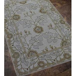Hand-tufted Grey/ Blue Wool Rug (9'6 x 13'6) - Thumbnail 1