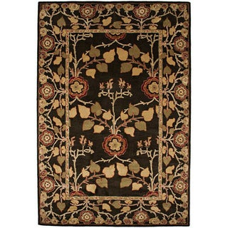 Hand-tufted Coffee Brown/ Red Wool Rug (8' x 11')