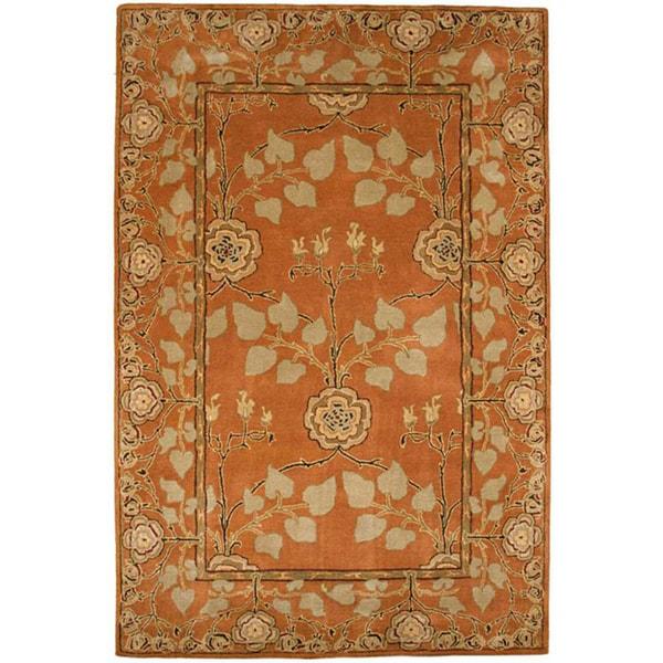 Hand-tufted Orange/ Beige Wool Rug (5' x 8')