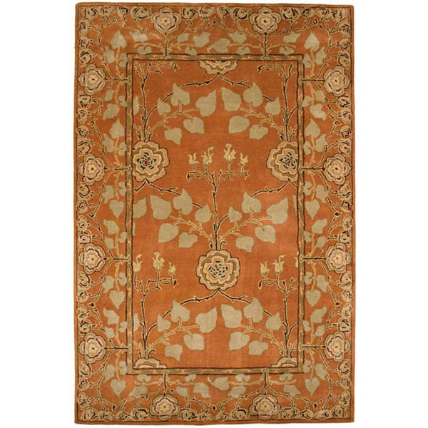 Hand-tufted Orange/ Beige Wool Rug (8' x 11')