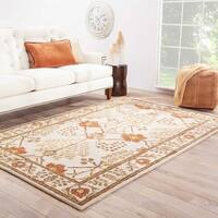 Maison Rouge Emily Handmade Floral White/ Red Area Rug (5' x 8')
