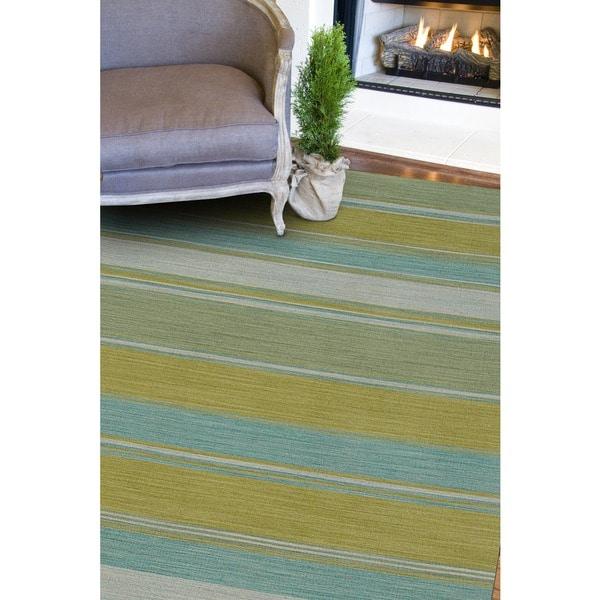 Naxos Handmade Stripe Aqua/ Green Area Rug (9' X 12')