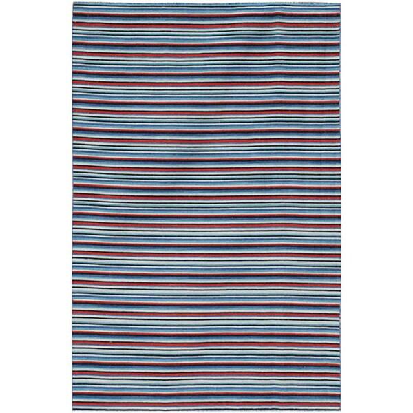 Flat Weave Blue/ Red Wool Rug (9' x 12')