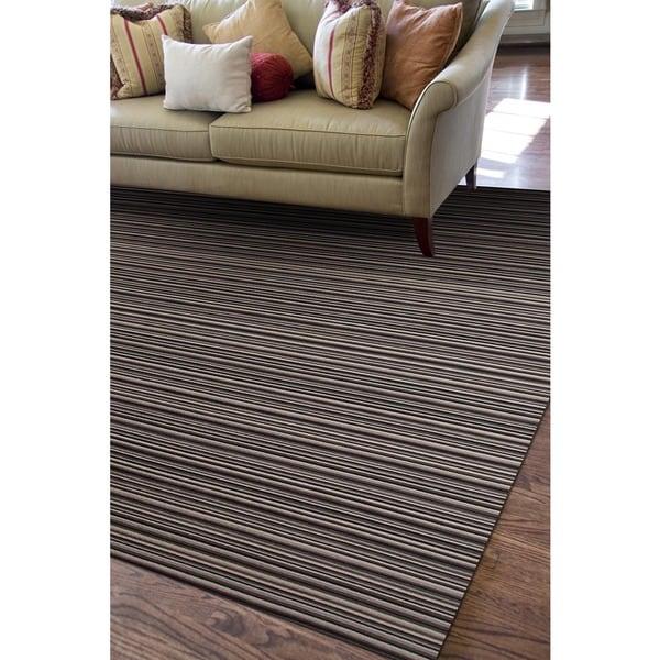 Flat Weave Black/ Grey Wool Rug (5' x 8')