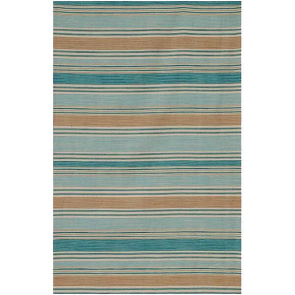 Flat Weave Blue/ Ivory Wool Rug (9' x 12')