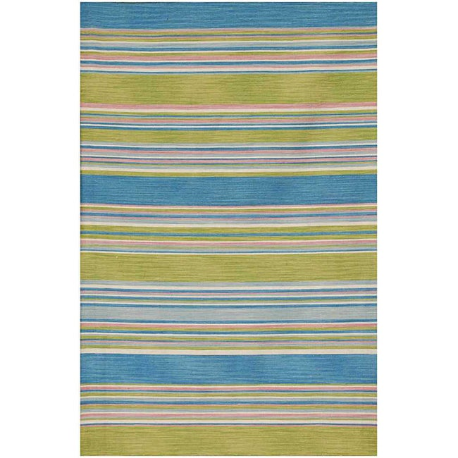 Flat Weave Blue/ Green Wool Rug (10' x 14')