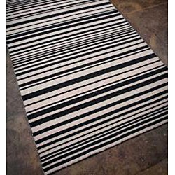 Flat Weave Black/ Grey Wool Rug (9' x 12')