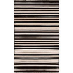 Flat Weave Black/ Grey Wool Rug (9' x 12')