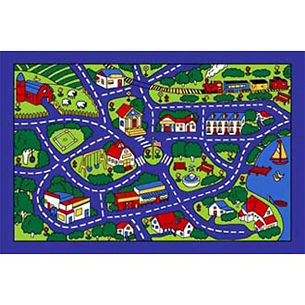 paradise design blue street map area rug 5 x 7   free