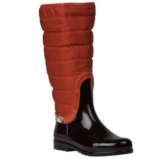 Burberry Women's Orange/ Black Quilted/ Patent Rain Boots