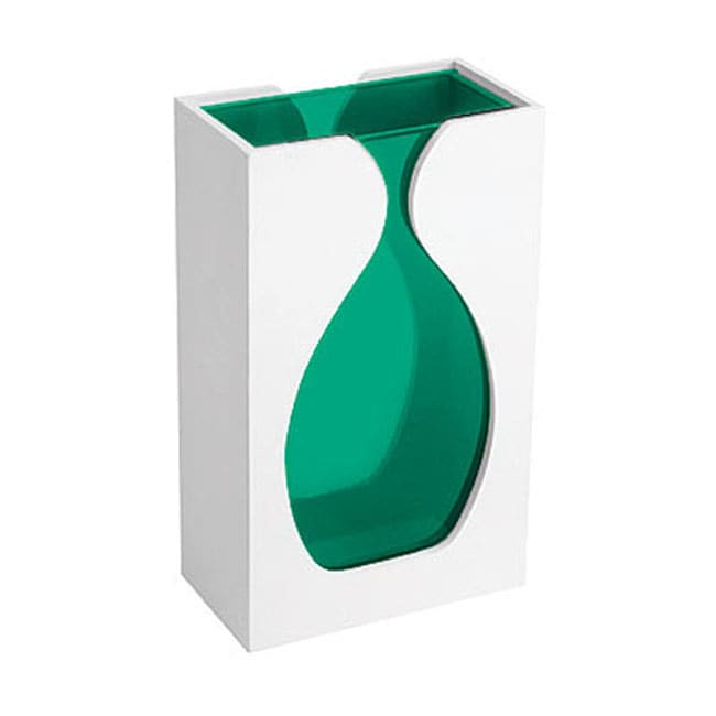 Retro Green Glass Vase with White Wooden Case
