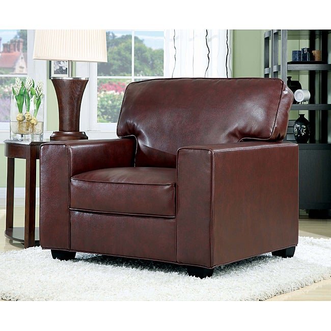 Burgundy bonded leather accent chair free shipping today overstock