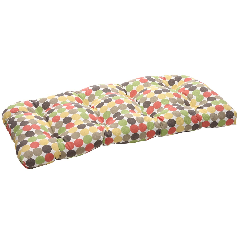 Multicolored Polka Dots Outdoor Wicker Loveseat Cushion