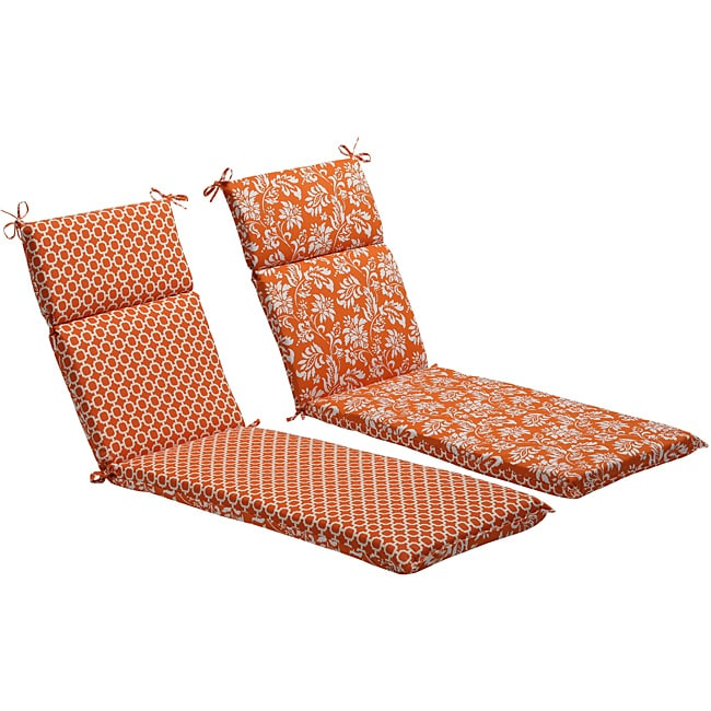Pillow Perfect Orange/ White Reversible Geometric/ Floral Outdoor Chaise Lounge Cushion