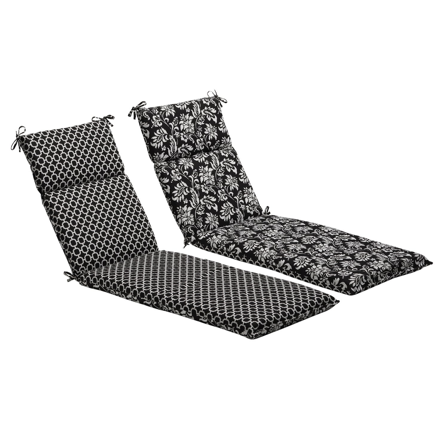 Pillow Perfect Black/ White Reversible Geometric/ Floral Outdoor Chaise Lounge Cushion