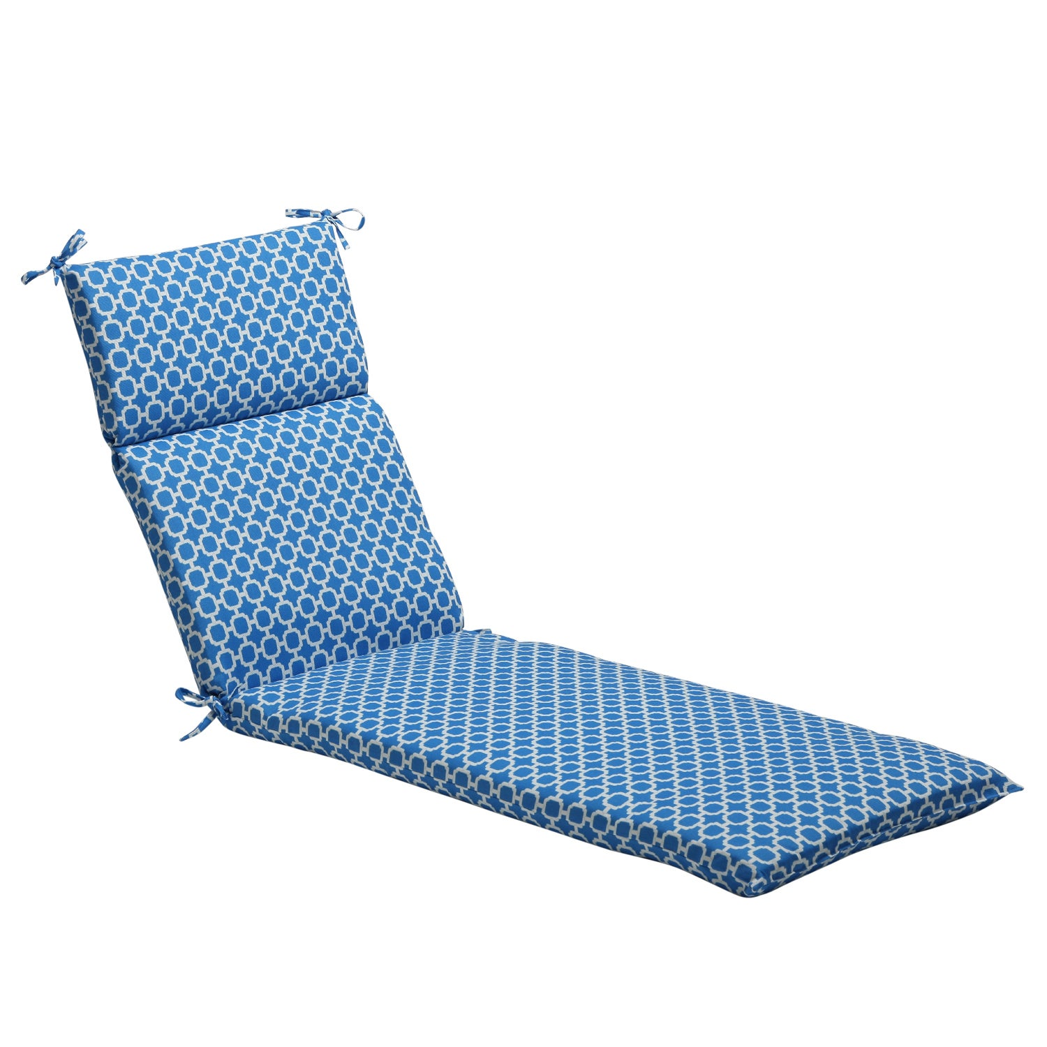 Pillow Perfect Blue/ White Geometric Outdoor Chaise Lounge Cushion
