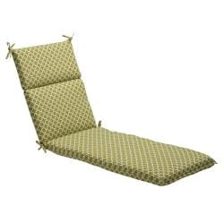 Pillow Perfect Green/ White Geometric Outdoor Chaise Lounge Cushion