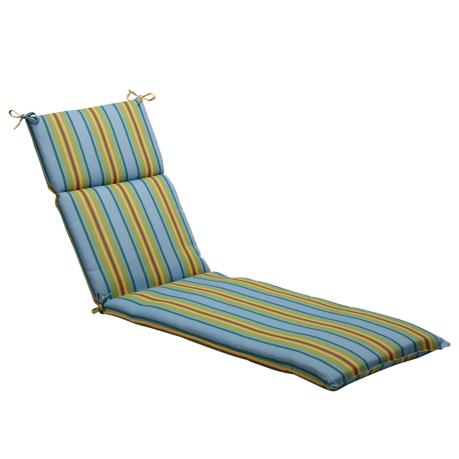 Pillow perfect blue green striped outdoor chaise lounge for Black and white striped chaise lounge cushions