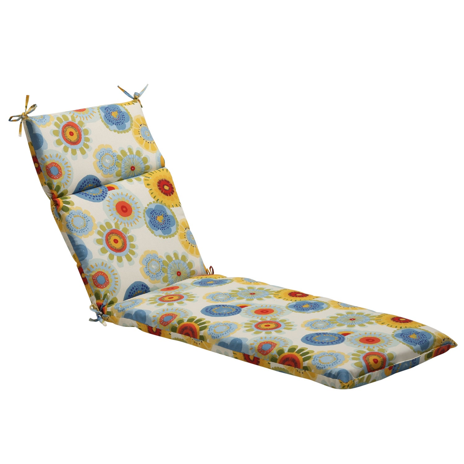 Pillow Perfect Multicolor Contemporary Floral Outdoor Chaise Lounge Cushion