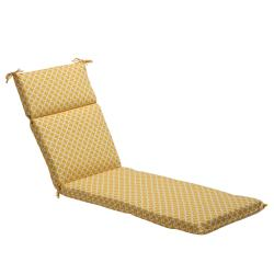 Pillow Perfect Yellow/ White Contemporary Geometric Outdoor Chaise Lounge Cushion