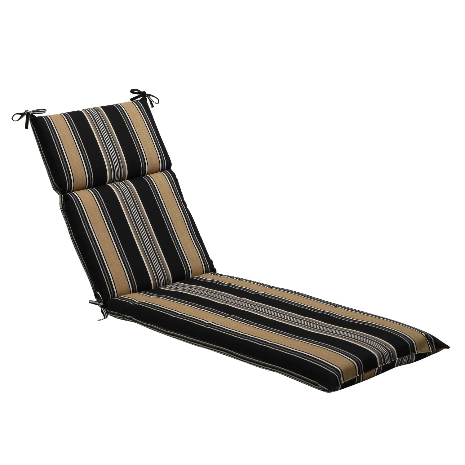 Black tan stripe outdoor chaise lounge cushion free for Black and white striped chaise lounge cushions