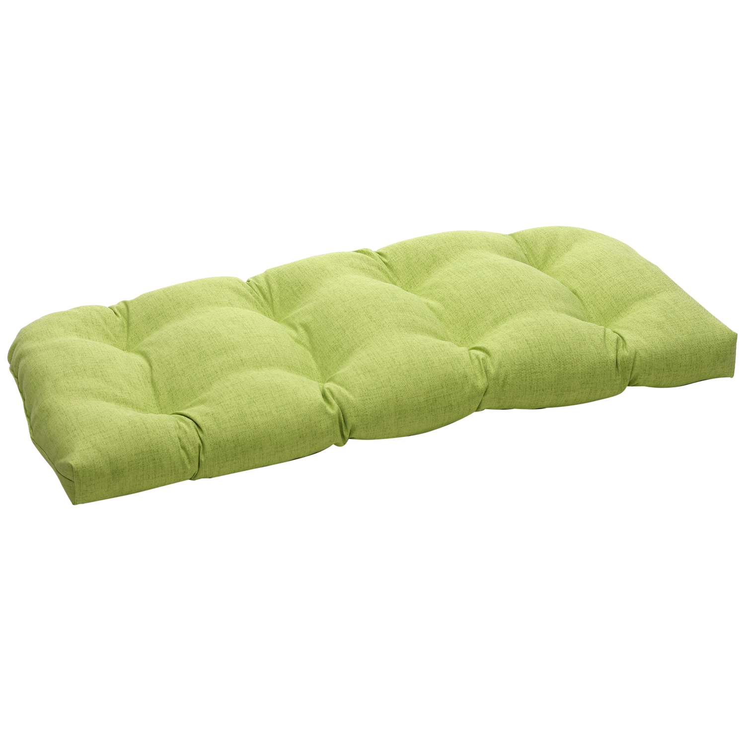 Solid Green Textured Outdoor Wicker Loveseat Cushion