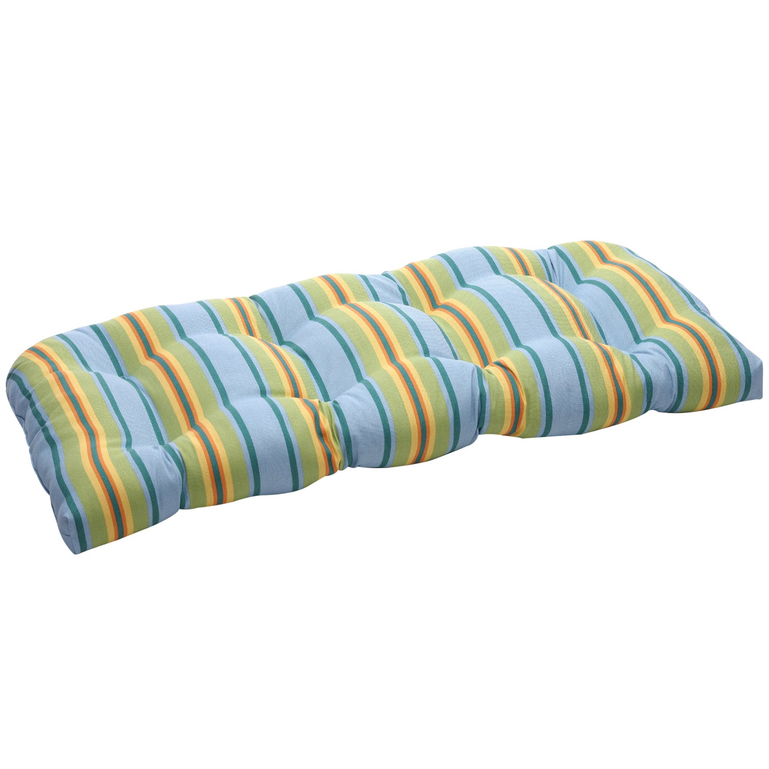 Blue/ Green Stripe Outdoor Wicker Loveseat Cushion