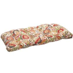 Pillow Perfect Contemporary Floral Tufted Outdoor Loveseat Cushion