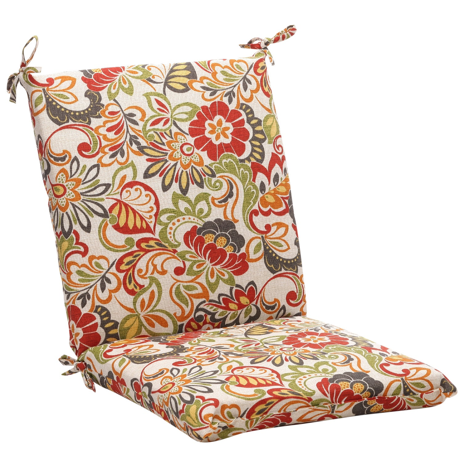 Squared Multicolored Floral Chair Outdoor Cushion Free