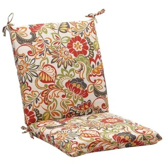 Squared Multicolored Floral Chair Outdoor Cushion
