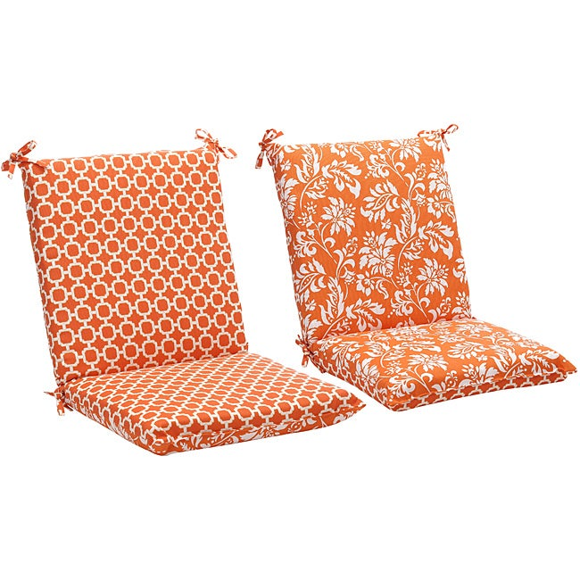 Shop Squared Reversible Orange White Geometric Floral Outdoor