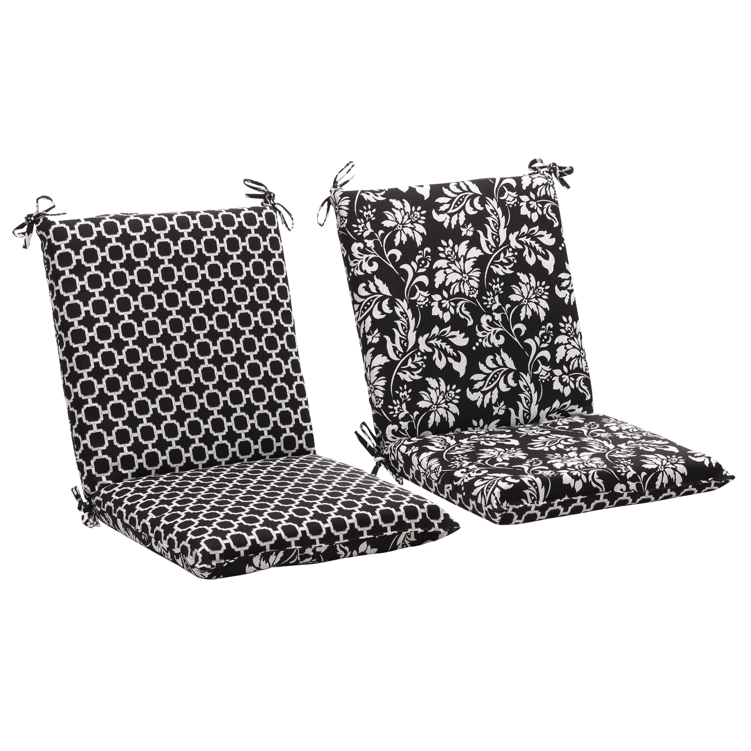 Squared Reversible Black/ White Geometric/ Floral Outdoor Chair Cushion