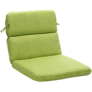 Outdoor Green Textured Solid Rounded Chair Cushion