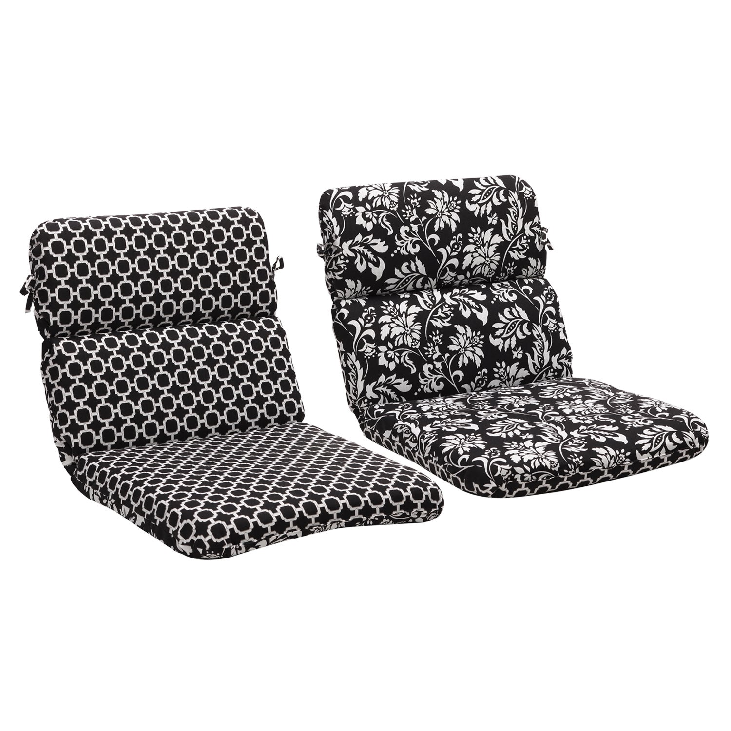 Pillow Perfect Black/ White Geometric/Floral Reversible Outdoor Cushion