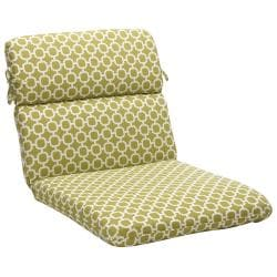 Rounded Green/ White Geometric Outdoor Chair Cushion
