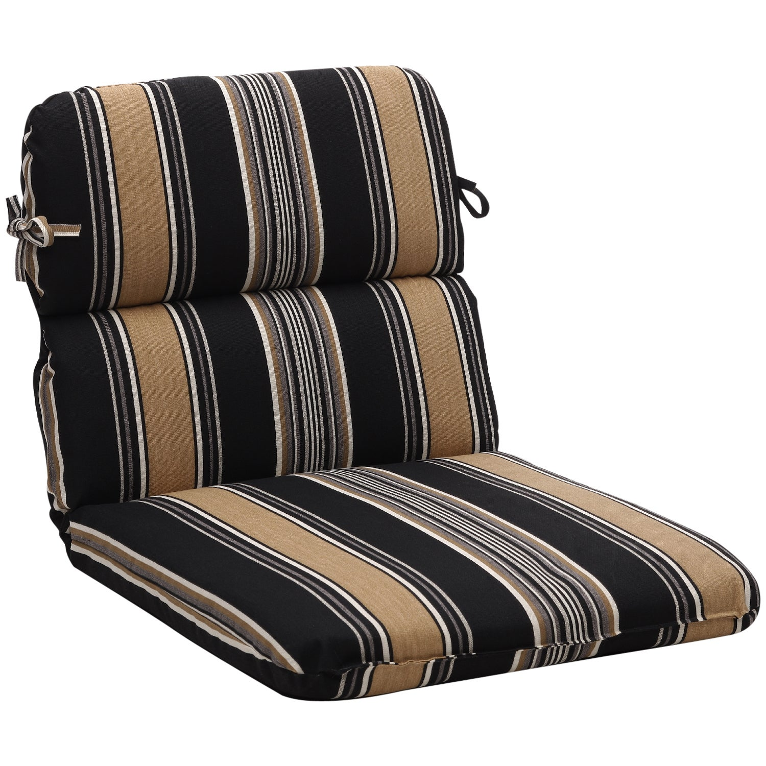 Rounded Black Tan Stripe Outdoor Chair Cushion Free