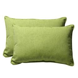 Decorative Green Textured Solid Rectangle Outdoor Toss Pillow (Set of 2)
