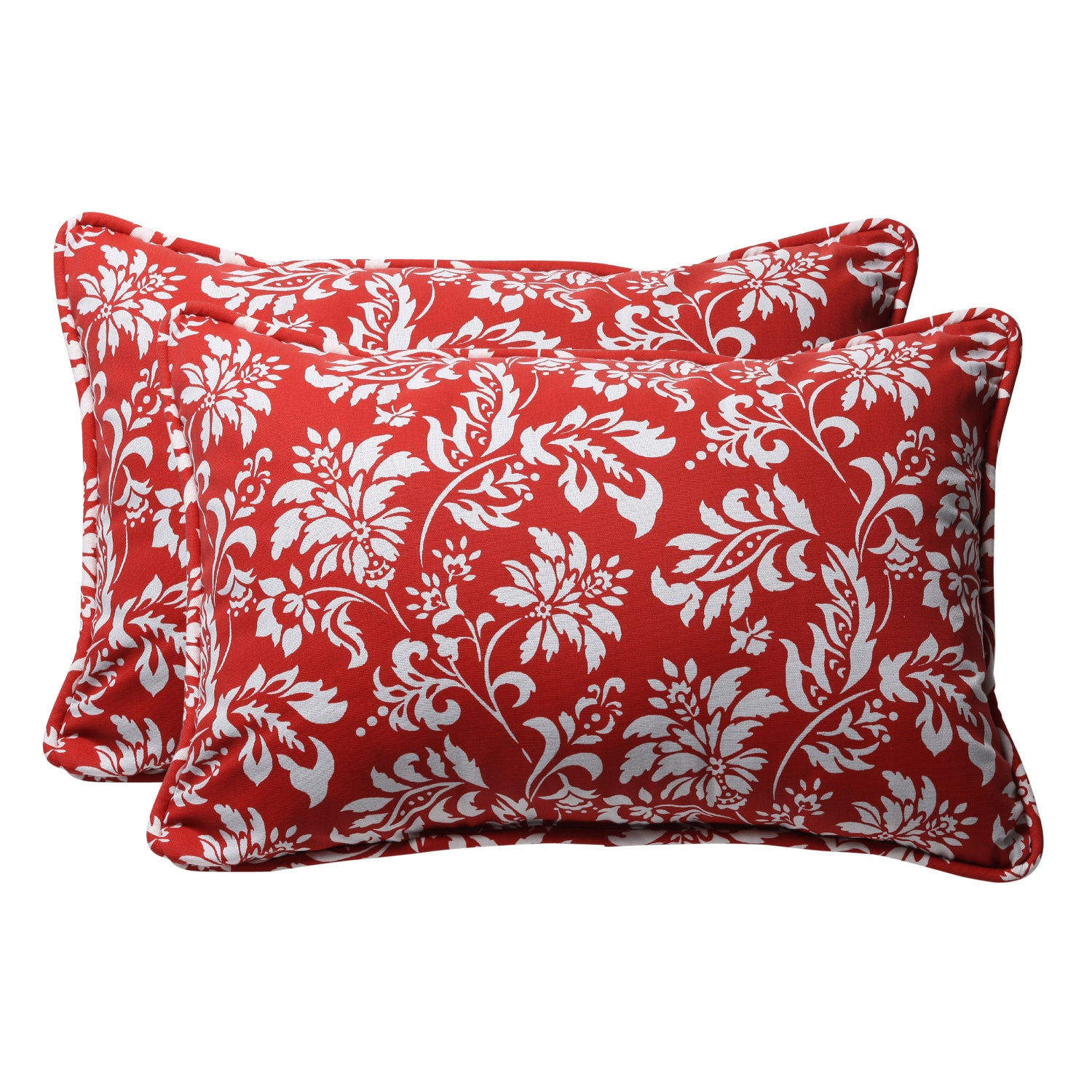 Decorative Red/ White Floral Rectangle Outdoor Toss Pillow (Set of 2)